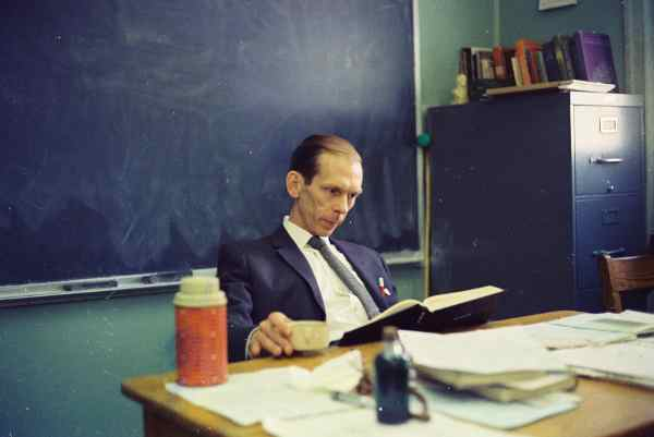 Philip Watts in the classroom at Needham Broughton High 	    School